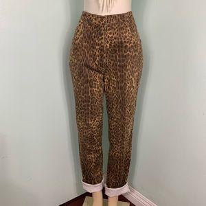 Vintage Leopard Print High Rise Mom Jeans